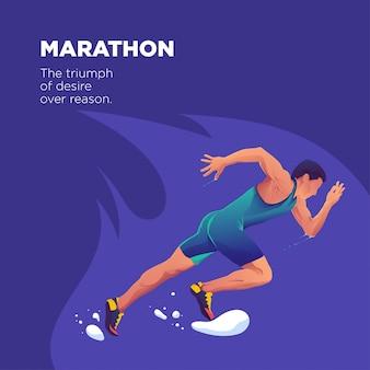 Een marathonatleet die sprint