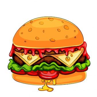 Een mascotte stripfiguur hamburger cheeseburger
