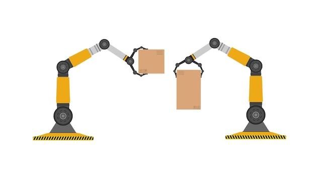 Een mechanische robot houdt een doos vast. industriële robotarm tilt een last op. moderne industriële technologie. apparaten voor productiebedrijven. geïsoleerd. vector.