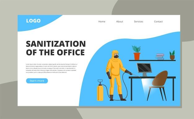 Een medewerker in een beschermend pak en een gasmasker besproeid met desinfecterende oppervlakken op kantoor