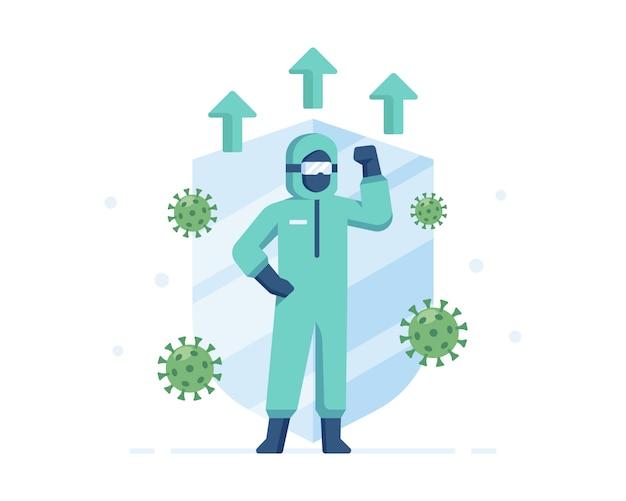 Een medische officier draagt persoonlijke beschermingsmiddelen om zichzelf te beschermen tegen transmissie van het coronavirus