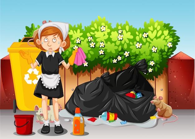 Een meid die vuile omgeving schoonmaakt