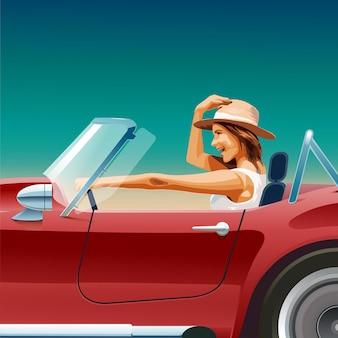 Een meisje achter het stuur van een cabriolet. een meisje dat op vakantie gaat. rode sportwagen.