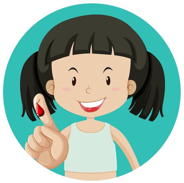 Een meisje bloeden op vinger