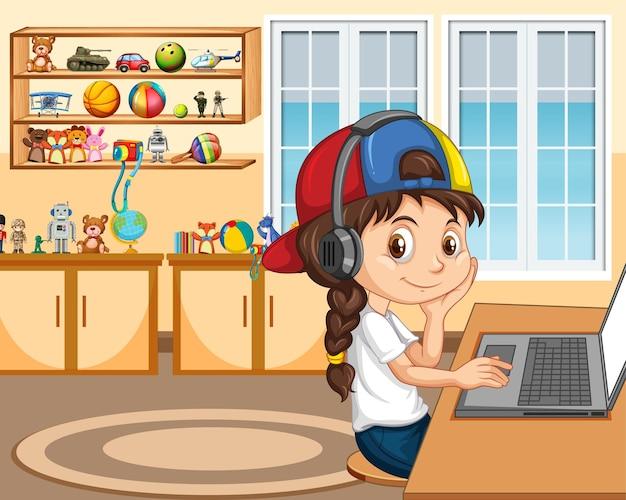 Een meisje communiceert thuis een videoconferentie met vrienden