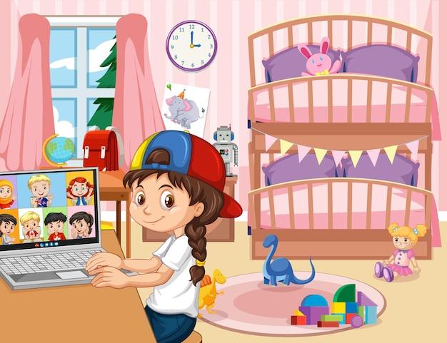 Een meisje communiceert videoconferentie met vrienden in de slaapkamerscène