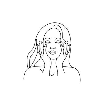Een meisje dat een gezichtsmassage doet of een creamline-meisje aanbrengt