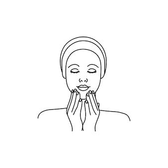 Een meisje dat een gezichtsmassage doet of een crème aanbrengt line girl abstract minimalistisch silhouet