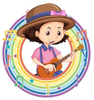 Een meisje dat gitaar speelt in een regenboog rond frame met melodiesymbolen