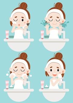 Een meisje dat haar gezicht schoonmaakt met 4 stappen. veeg de cosmetica af met een spons, gebruik het water voor het reinigen van een gezicht, reinigingsschuim en veeg haar gezicht af met een doek.