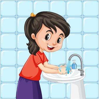 Een meisje dat handen schoonmaakt