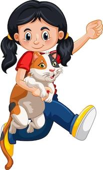 Een meisje dat het leuke karakter van het kattenbeeldverhaal houdt dat op witte achtergrond wordt geïsoleerd