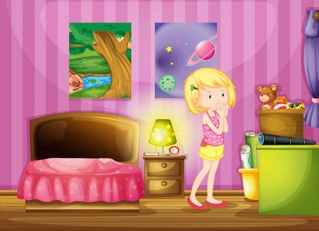 Een meisje dat in haar kamer wenste