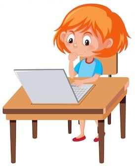 Een meisje dat laptop met behulp van