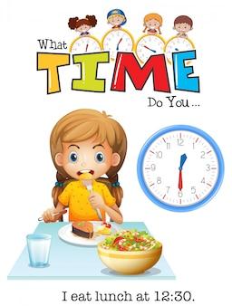 Een meisje dat om 12:30 uur een lunch eet