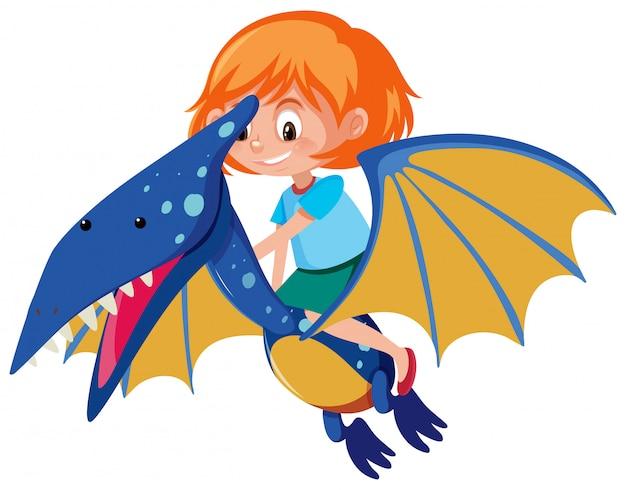 Een meisje dat op pteranodon rijdt