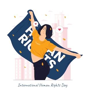Een meisje dat zich gelukkig voelt met het vasthouden van de vlag op de conceptillustratie van de internationale mensenrechtendag