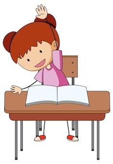 Een meisje doet huiswerk doodle stripfiguur