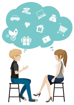 Een meisje en een jongen die over zaken praten