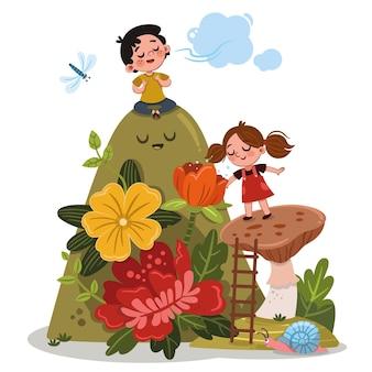 Een meisje en een jongen halen diep adem terwijl ze in de kleurrijke natuur zijn vectorillustratie