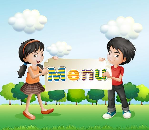 Een meisje en een jongen met een uithangbord