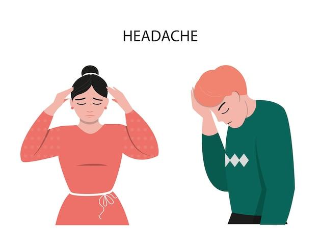 Een meisje en een jongen met hoofdpijn zijn in een slecht humeur.