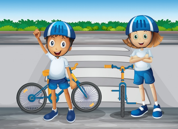 Een meisje en een jongen met hun fietsen die zich dichtbij de voetganger bevinden