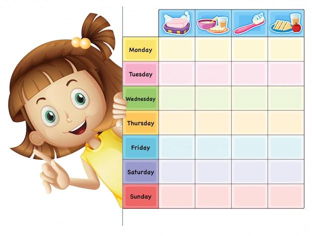 Een meisje en een kalender