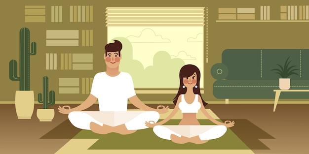 Een meisje en haar vriend nemen een yoga-pauze terwijl ze thuis werken.