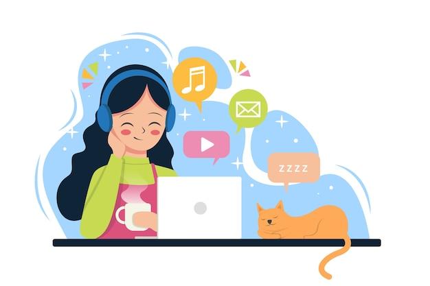 Een meisje geniet van sociale media, video en muziek. .