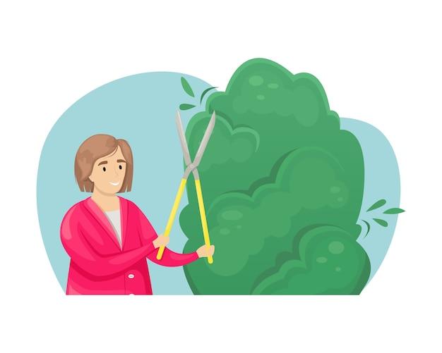 Een meisje hakt een boom met een snoeischaar. de verzorging van de tuin. landbouw, landbouw.