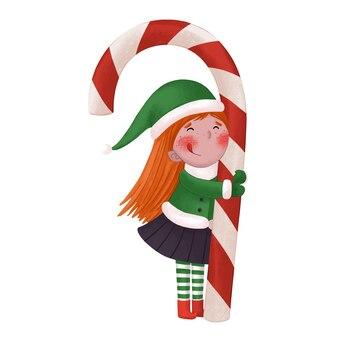 Een meisje in een elfenkostuum houdt een grote lollystok vast