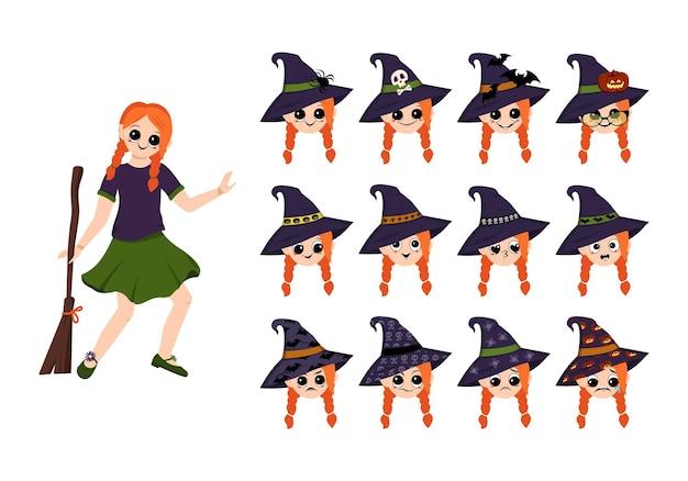 Een meisje in een heksenkostuum met een hoed en een bezem voor halloween en een reeks gezichten met emoties een ch...