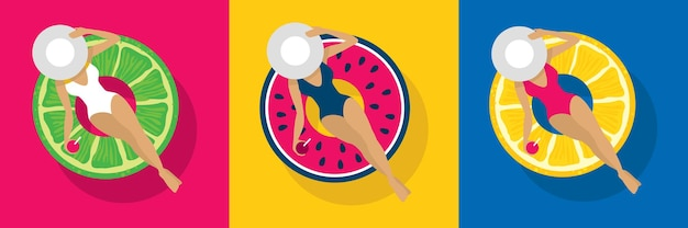 Een meisje in een hoed op een heldere zwemcirkel in de vorm van een watermeloen en een citroen