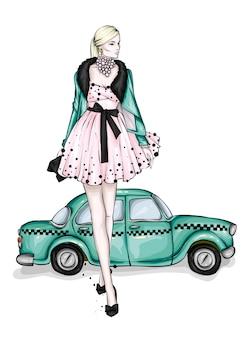 Een meisje in een mooie avondjurk en een taxi