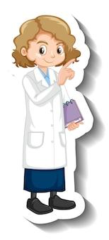 Een meisje in een wetenschappelijke jurk stripfiguur sticker
