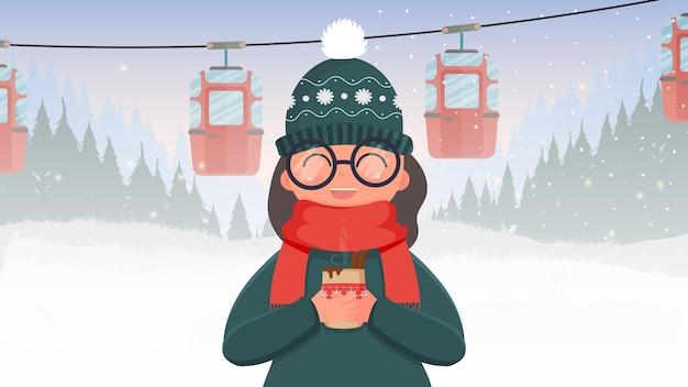 Een meisje in groene kleren houdt een warme drank vast. kabelbaan met aanhangers in het winterbos. kabelbaan. het bos is met herten en sneeuw. cartoon-stijl. vector illustratie.