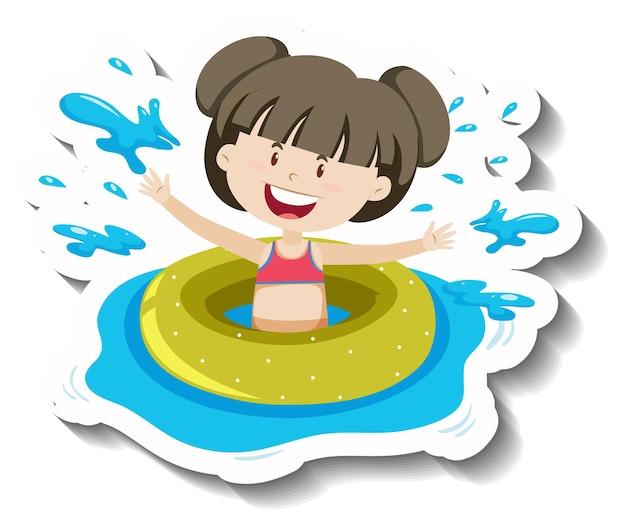 Een meisje in groene zwemring sticker