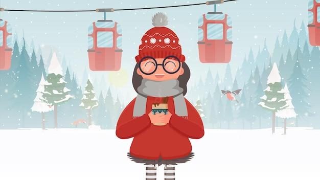 Een meisje in rode kleren houdt een warme drank vast. kabelbaan met aanhangers in het winterbos. kabelbaan. het bos is met herten en sneeuw. cartoon-stijl. vector illustratie.