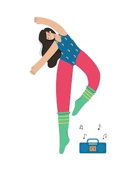 Een meisje in sportkleding danst moderne dans