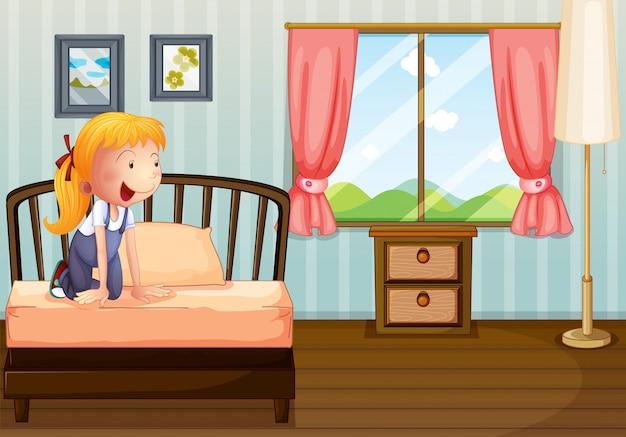 Een meisje lacht naar haar kamer