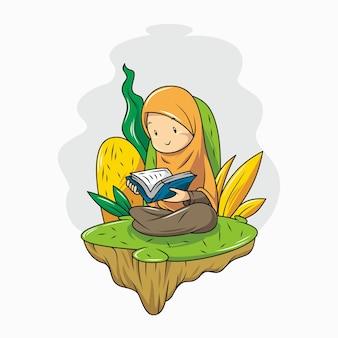 Een meisje leest de koran.