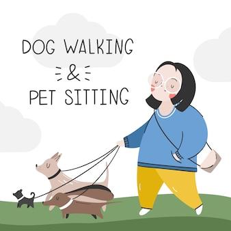 Een meisje loopt met honden. diensten voor het uitlaten van dieren. sitter voor honden
