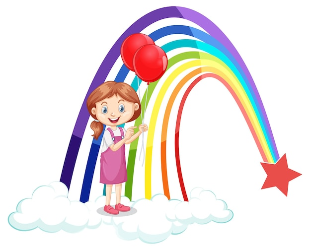 Een meisje met ballonnen met regenboog