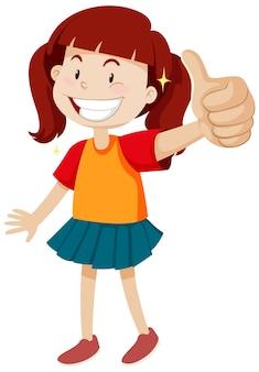Een meisje met duim omhoog poseren in gelukkige stemming geïsoleerd