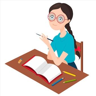 Een meisje met een bril zit aan een bureau.