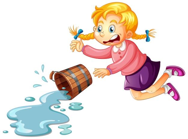 Een meisje met een emmer water op een witte achtergrond