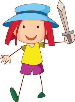 Een meisje met een hoed stripfiguur in de hand getekende doodle stijl