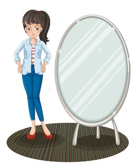 Een meisje met een jas die naast een spiegel staat