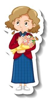 Een meisje met een sticker met een stripfiguur van een boeket